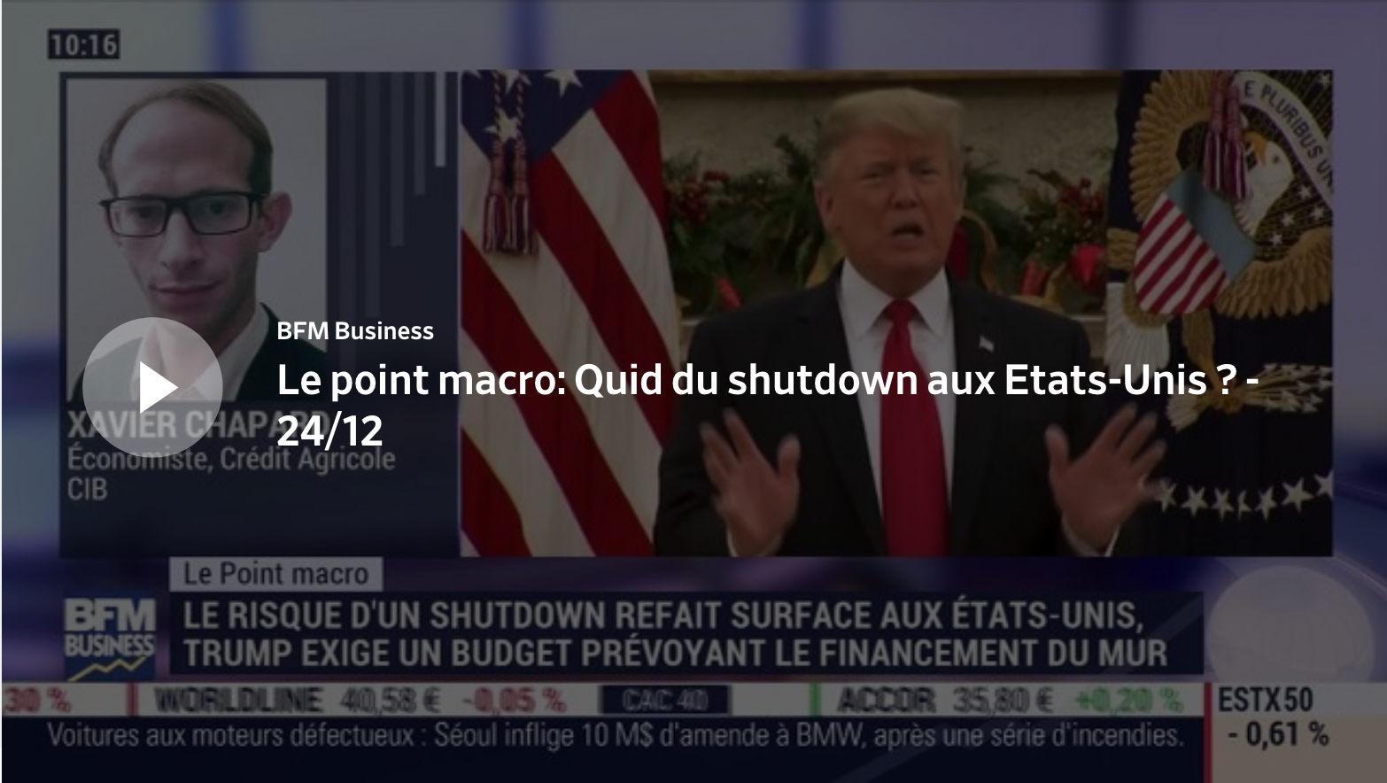Le point macro: Quid du shutdown aux Etats-Unis ?